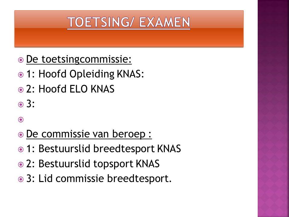 Toetsing/ examen De toetsingcommissie: 1: Hoofd Opleiding KNAS: