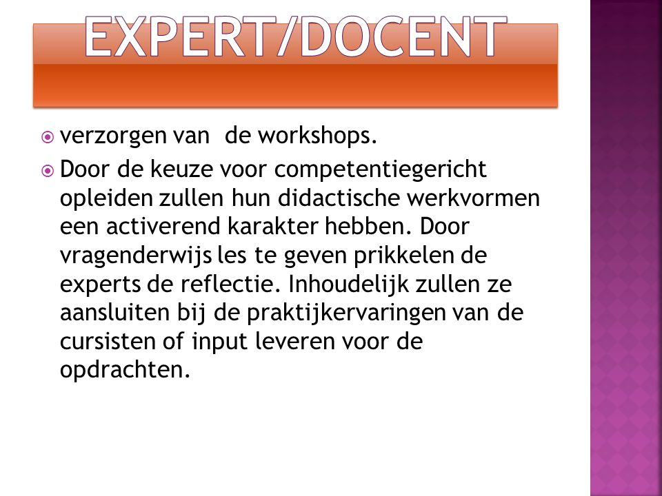 Expert/Docent verzorgen van de workshops.