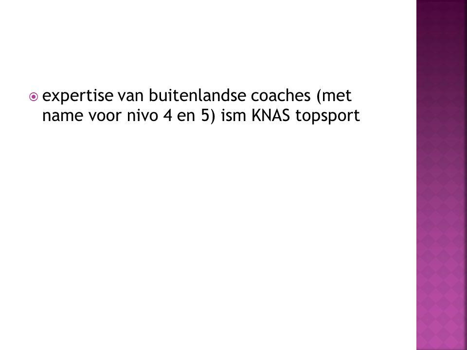 expertise van buitenlandse coaches (met name voor nivo 4 en 5) ism KNAS topsport
