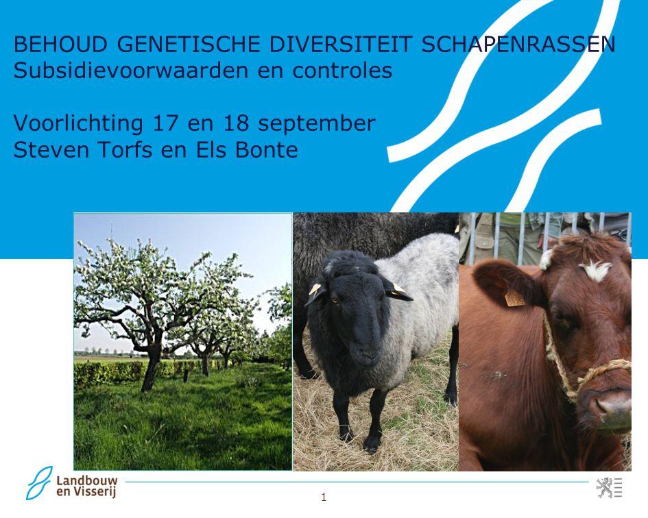 BEHOUD GENETISCHE DIVERSITEIT SCHAPENRASSEN Subsidievoorwaarden en controles Voorlichting 17 en 18 september Steven Torfs en Els Bonte