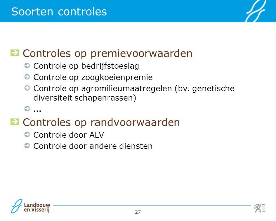 Soorten controles Controles op premievoorwaarden