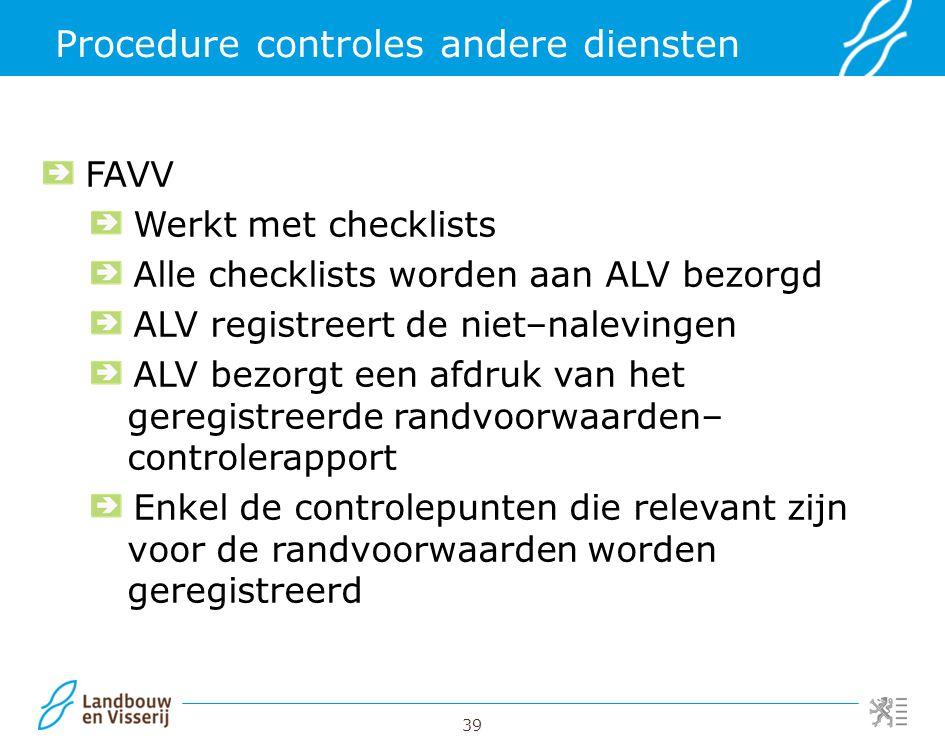 Procedure controles andere diensten
