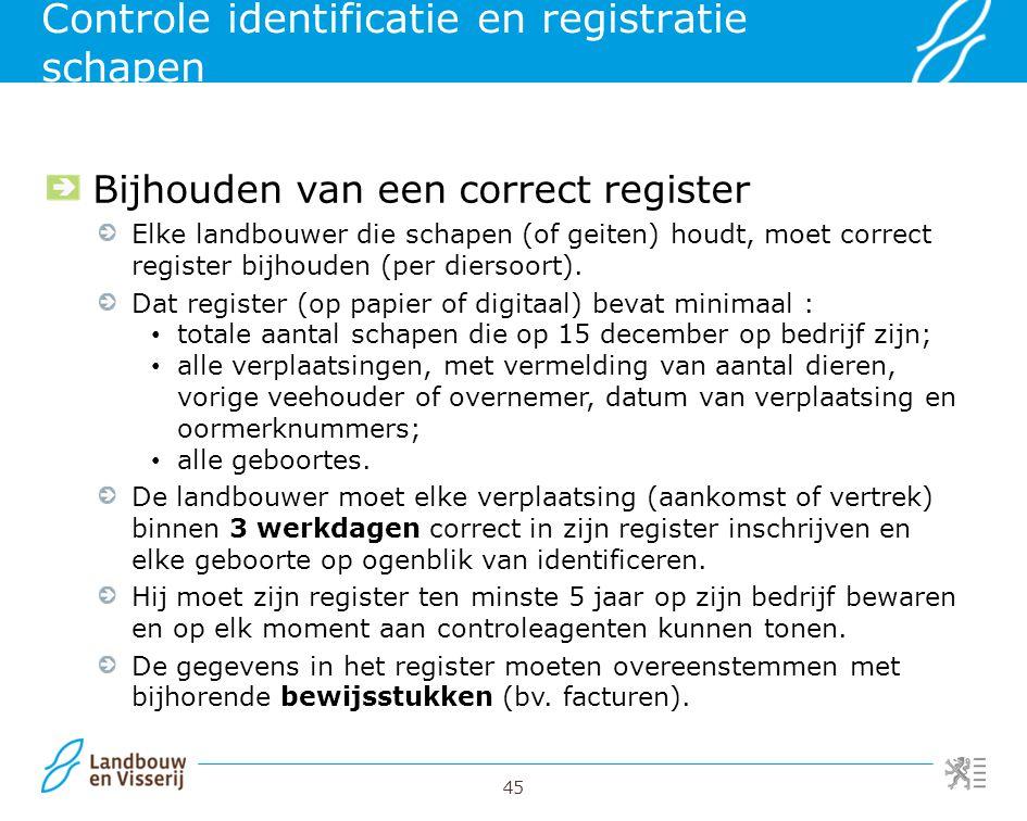 Controle identificatie en registratie schapen