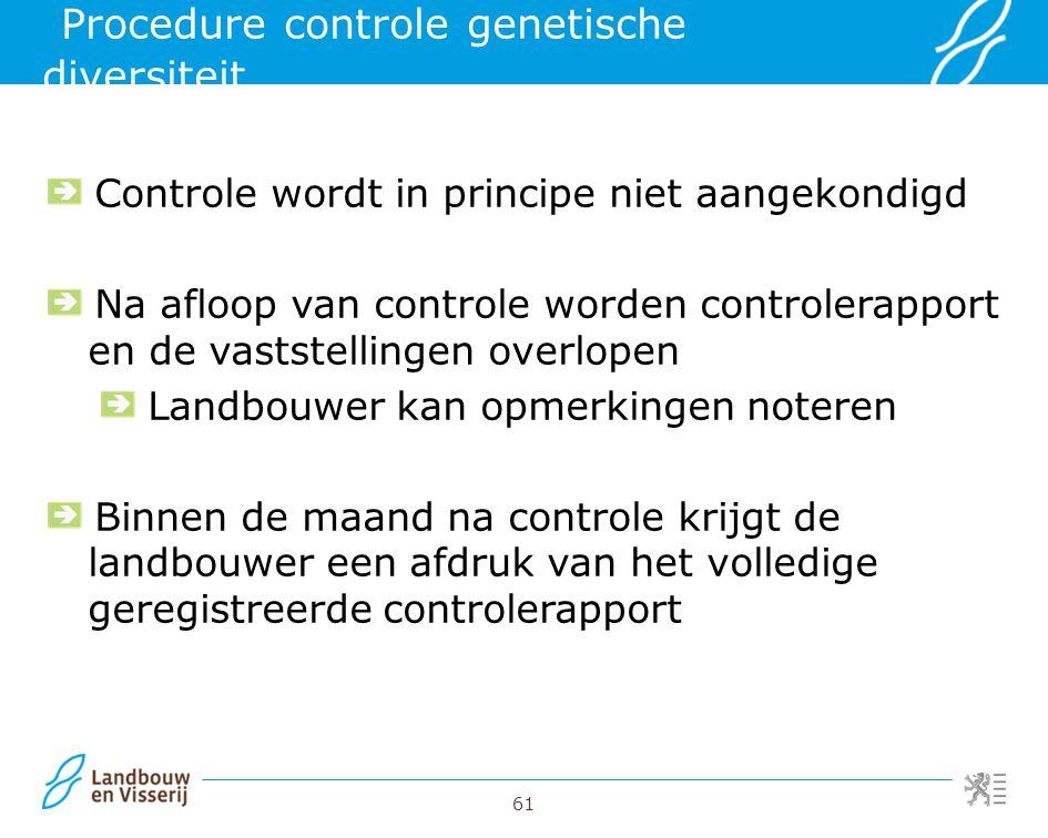 Procedure controle genetische diversiteit