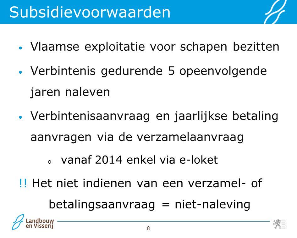Subsidievoorwaarden Vlaamse exploitatie voor schapen bezitten