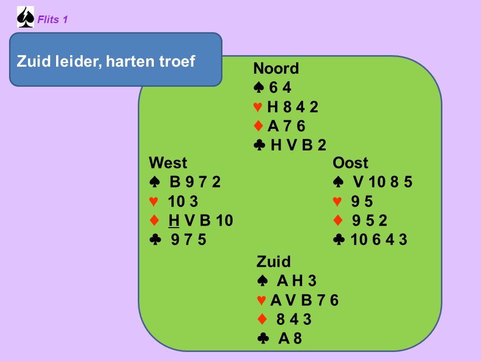 Zuid leider, harten troef Noord ♠ 6 4 ♥ H 8 4 2 ♦ A 7 6 ♣ H V B 2