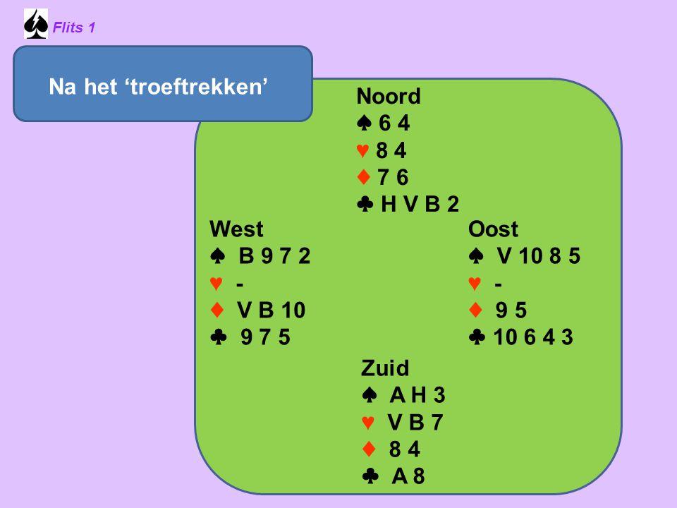 Na het 'troeftrekken' Noord ♠ 6 4 ♥ 8 4 ♦ 7 6 ♣ H V B 2 West ♠ B 9 7 2