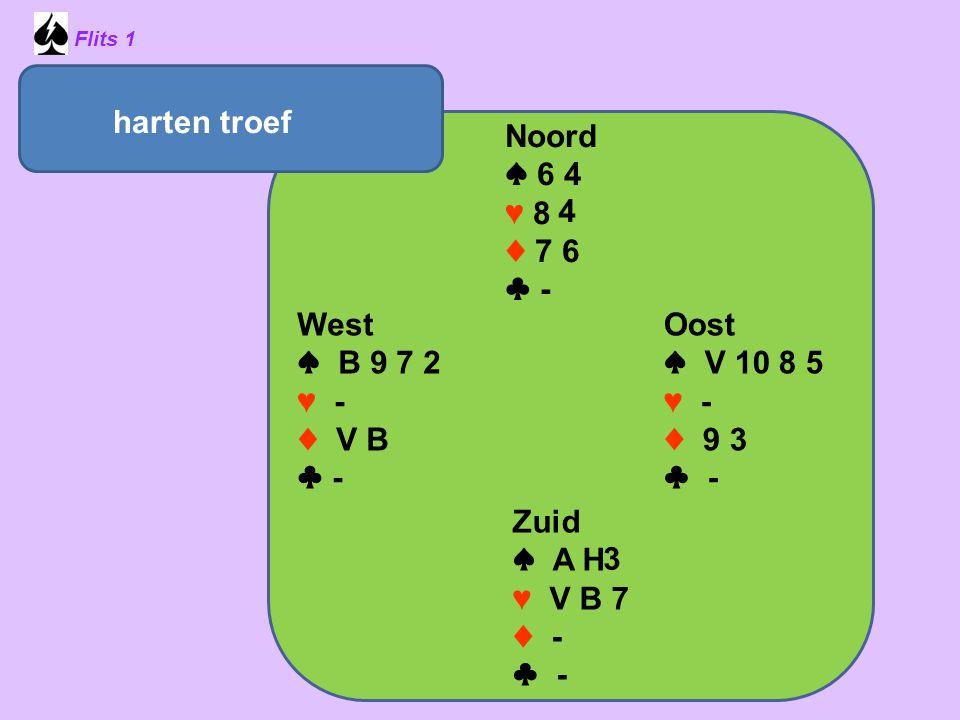 harten troef Noord ♠ 6 4 ♥ 8 ♦ 7 6 ♣ - 4 West ♠ B 9 7 2 ♥ - ♦ V B ♣ -