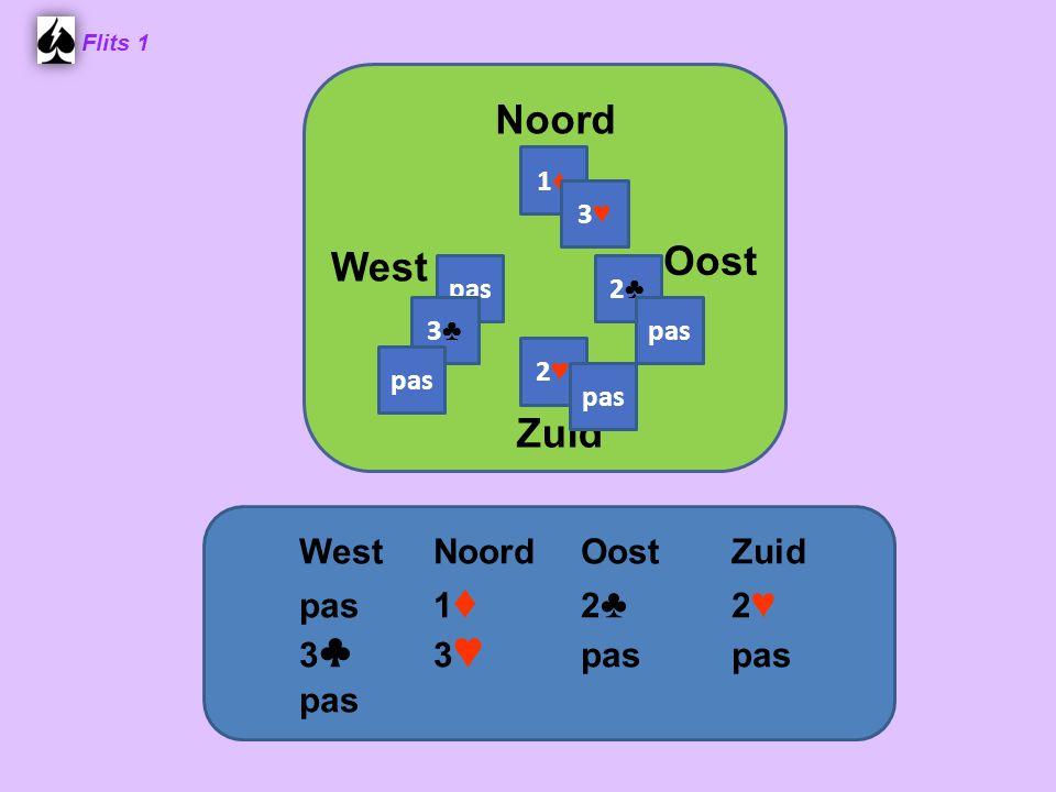 Noord Oost West Zuid West Noord Oost Zuid pas 1♦ 2♣ 2♥ 3♣ 3♥ pas pas