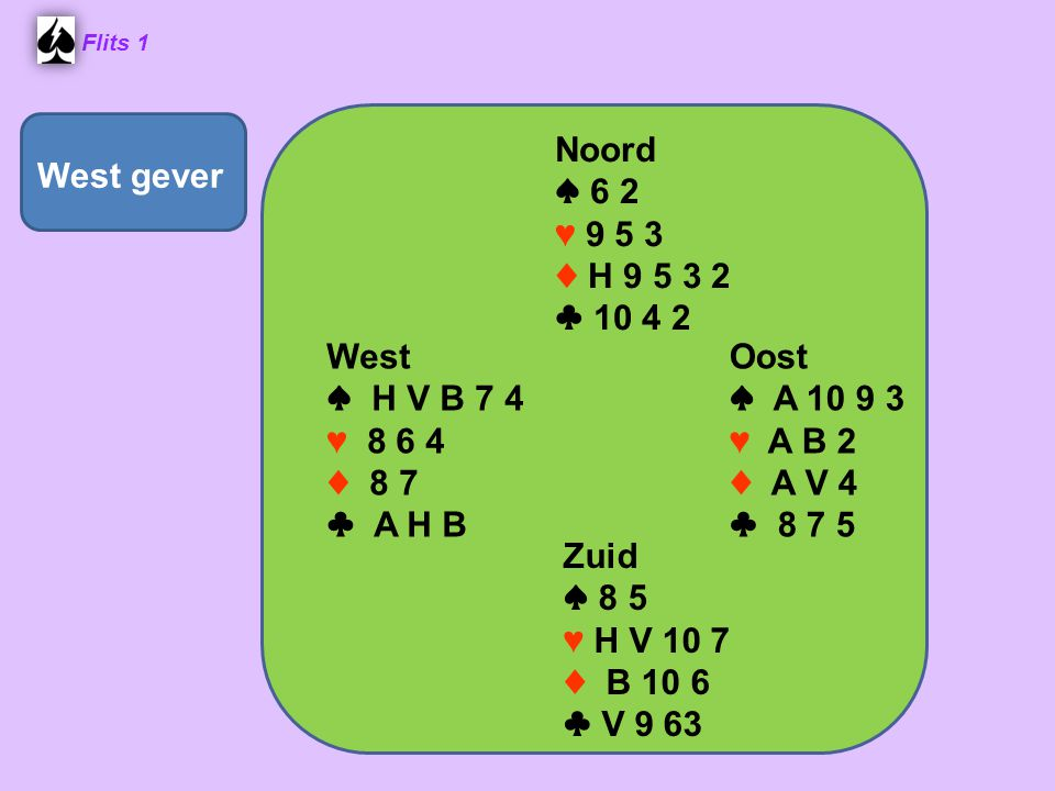 West gever Noord ♠ 6 2 ♥ 9 5 3 ♦ H 9 5 3 2 ♣ 10 4 2 West ♠ H V B 7 4