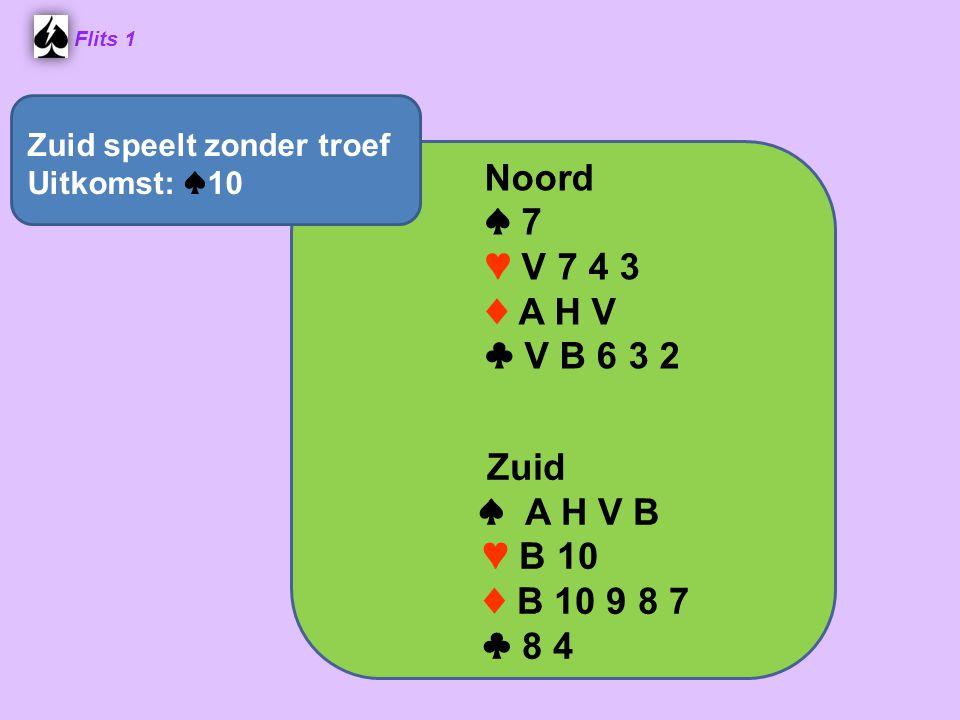 Noord ♠ 7 ♥ V 7 4 3 ♦ A H V ♣ V B 6 3 2 ♠ A H V B ♥ B 10 ♦ B 10 9 8 7