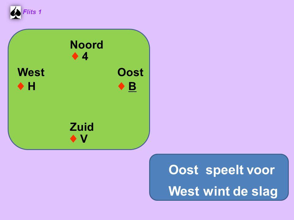 Oost speelt voor West wint de slag Noord West Oost Zuid ♦ 4 ♦ H ♦ B