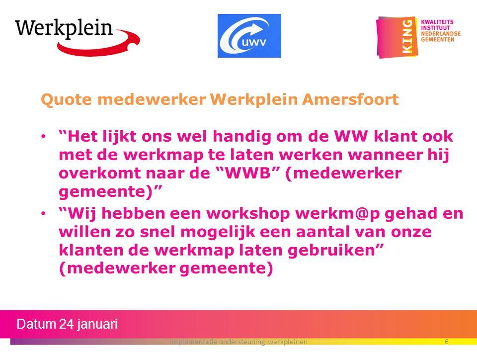 Implementatie ondersteuning werkpleinen