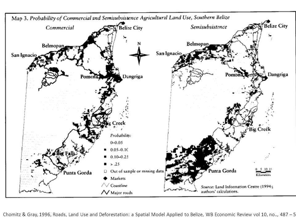 Aanleg wegen in gebieden met grond die niet geschikt is voor landbouw en gekenmerkt wordt door een lage bevolking, leidt tot een verlies – verlies situatie: habitat fragmentatie en weinig economische baten.