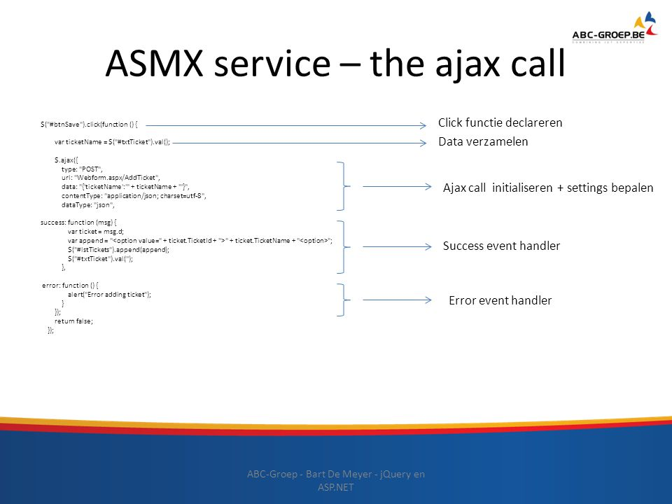 ASMX service – the ajax call