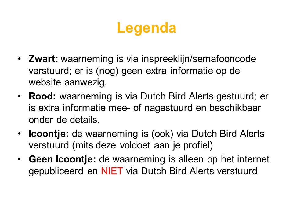 Legenda Zwart: waarneming is via inspreeklijn/semafooncode verstuurd; er is (nog) geen extra informatie op de website aanwezig.
