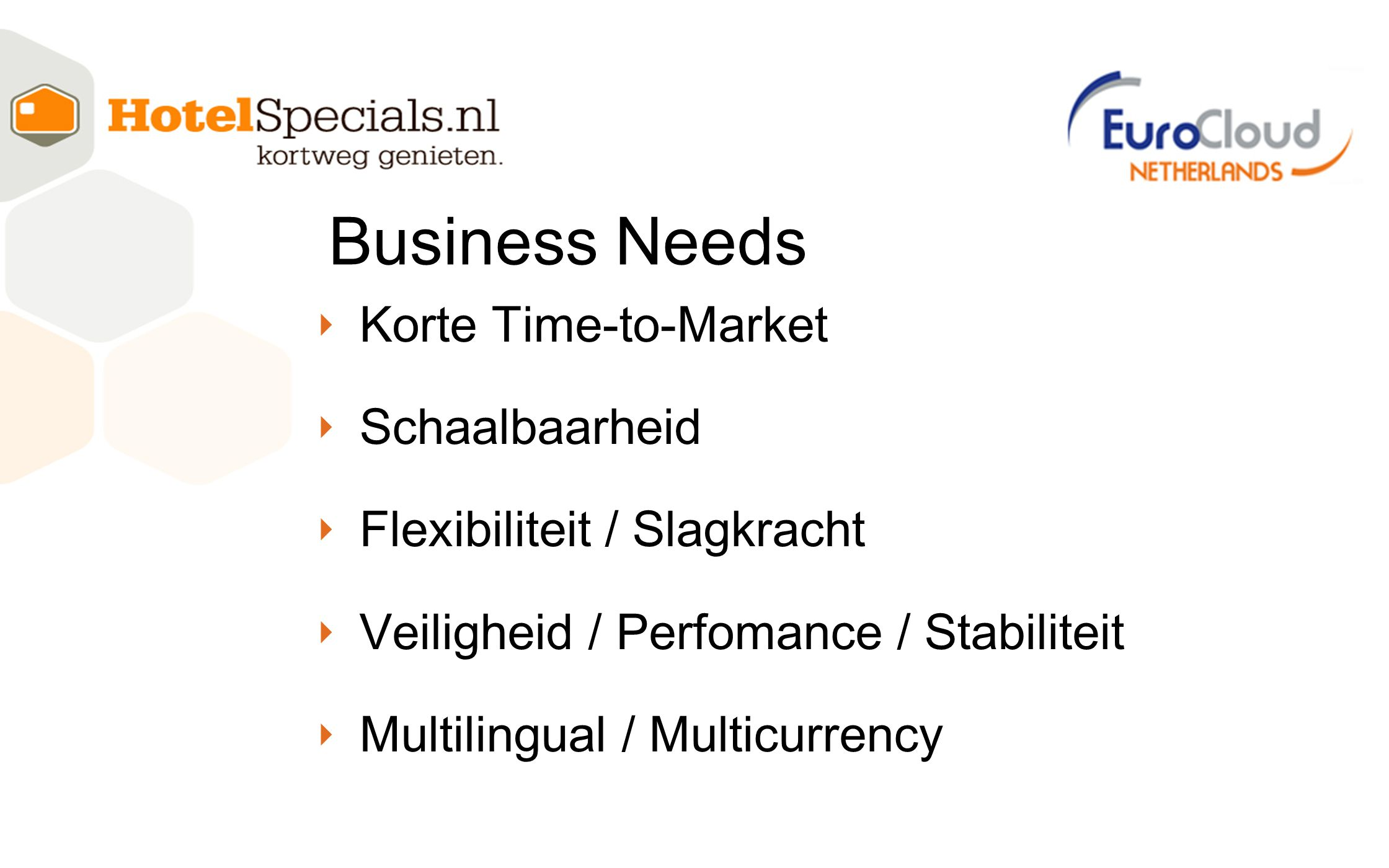 Business Needs Korte Time-to-Market Schaalbaarheid