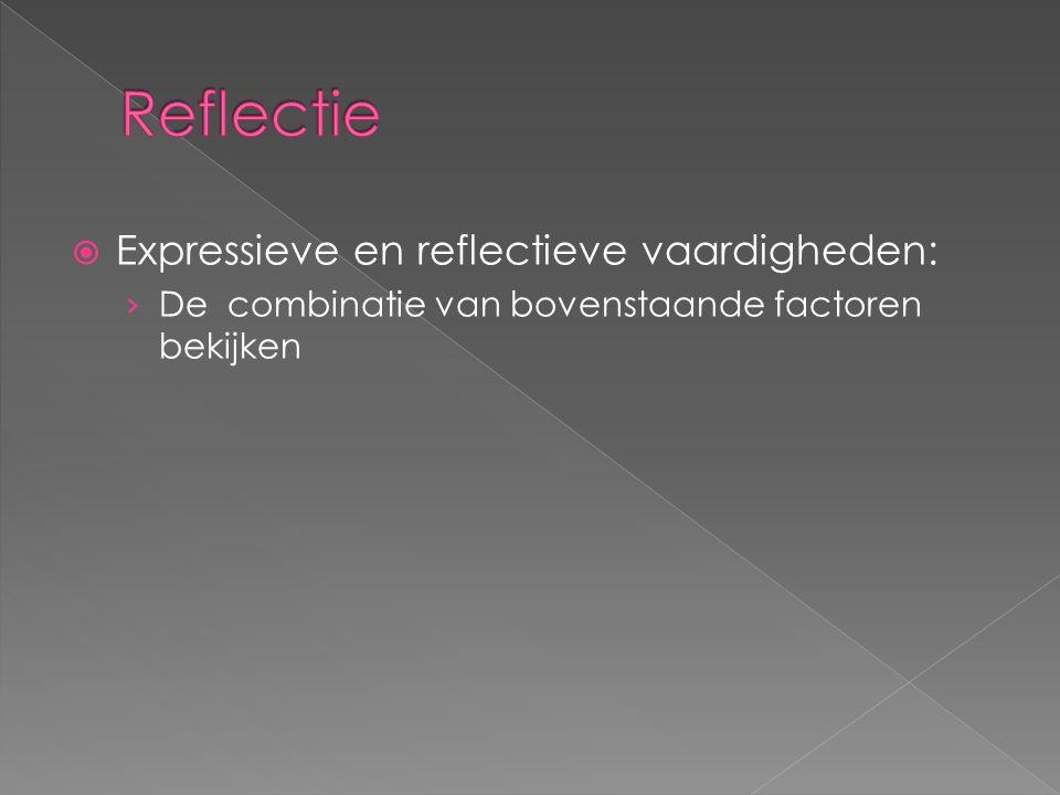 Reflectie Expressieve en reflectieve vaardigheden: