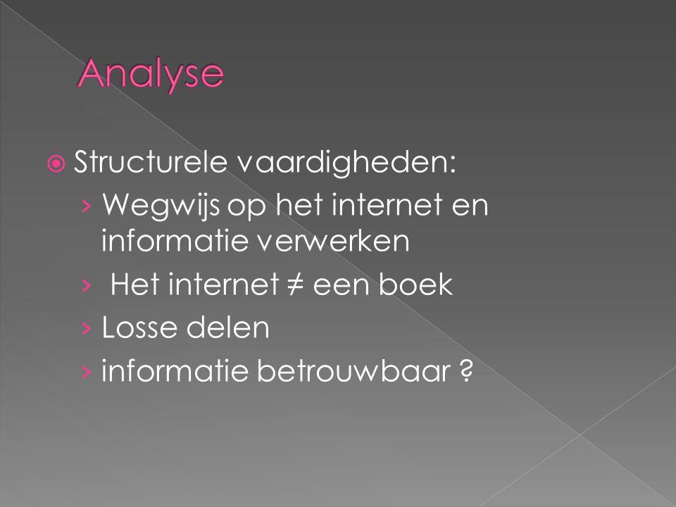 Analyse Structurele vaardigheden: