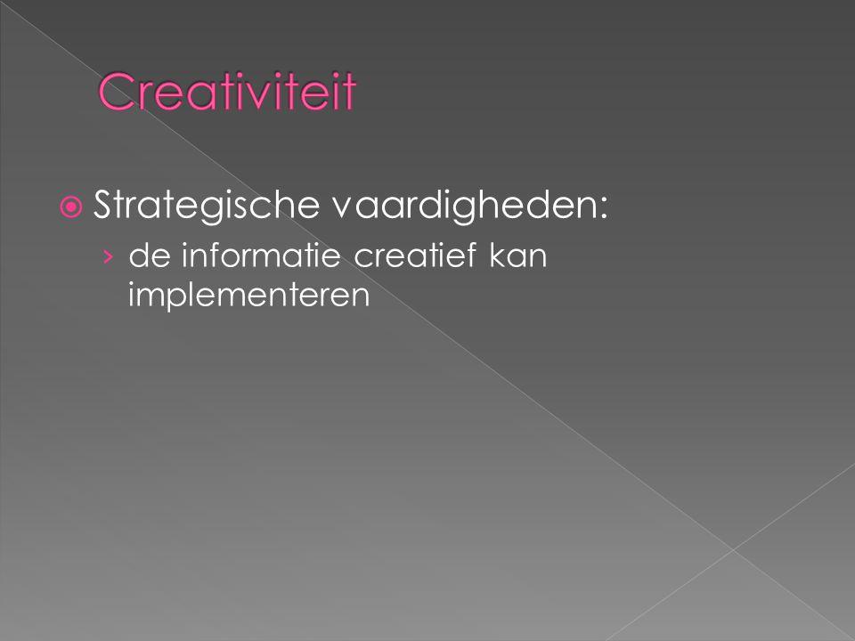 Creativiteit Strategische vaardigheden: