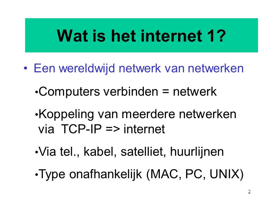 Wat is het internet 1 Computers verbinden = netwerk