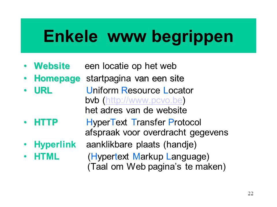 Enkele www begrippen Website een locatie op het web