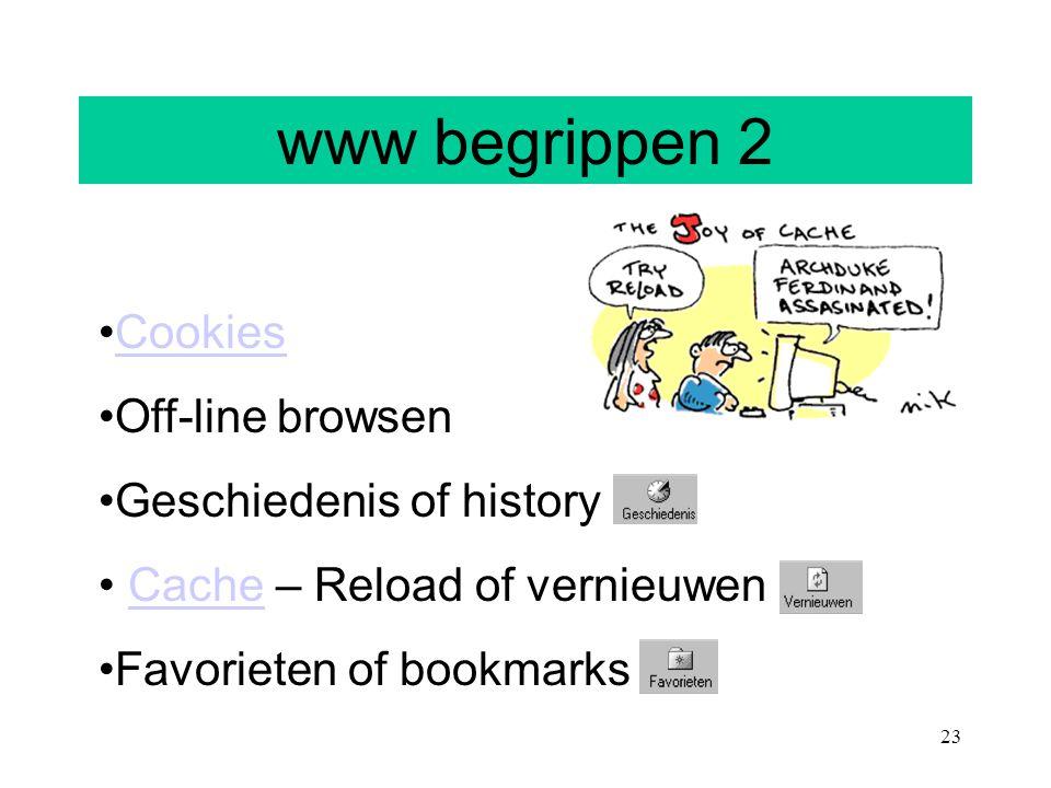 www begrippen 2 Cookies Off-line browsen Geschiedenis of history