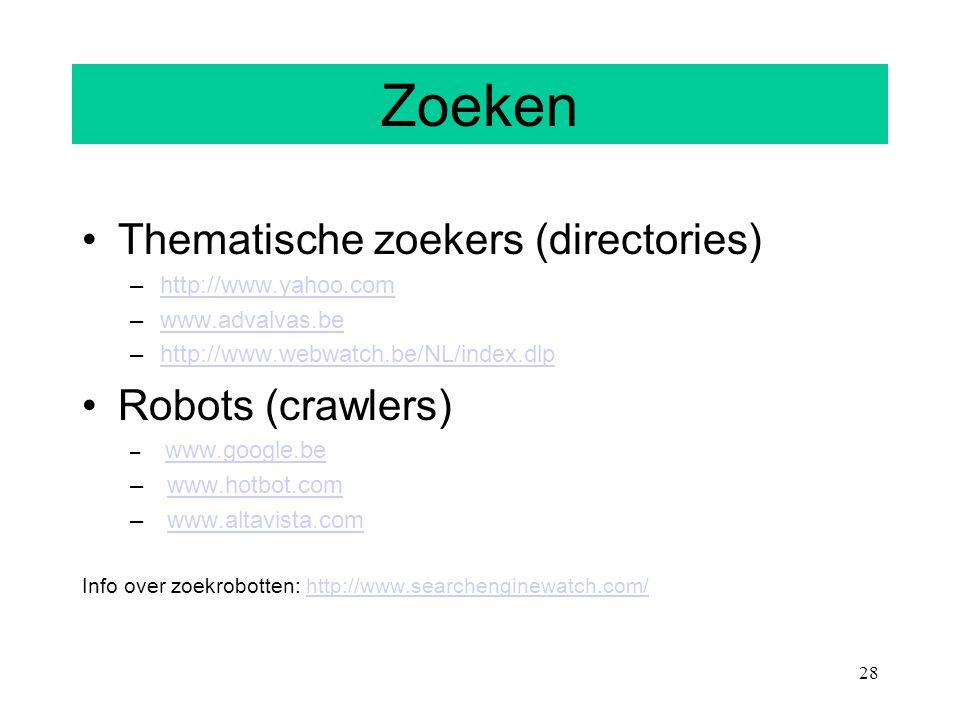 Zoeken Thematische zoekers (directories) Robots (crawlers)