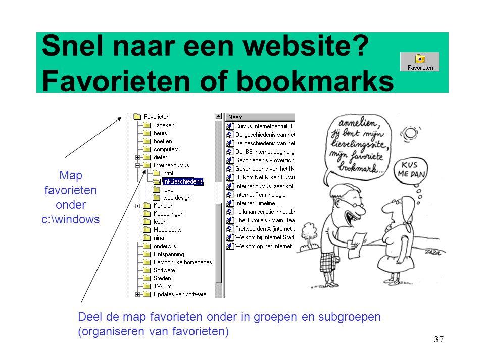 Snel naar een website Favorieten of bookmarks