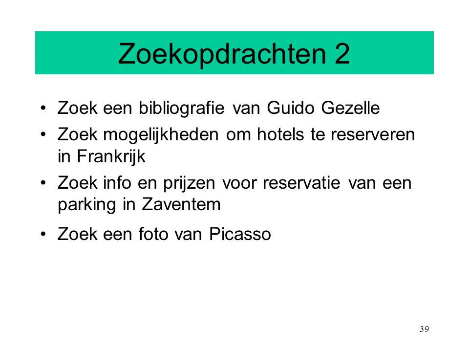 Zoekopdrachten 2 Zoek een bibliografie van Guido Gezelle