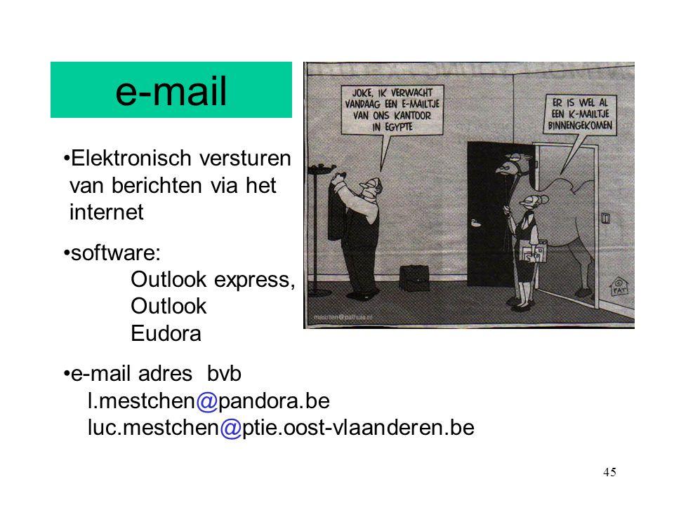 e-mail Elektronisch versturen van berichten via het internet