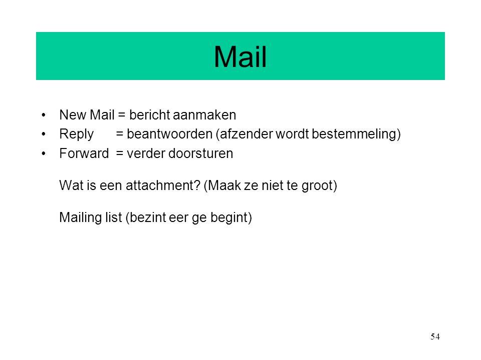 Mail New Mail = bericht aanmaken