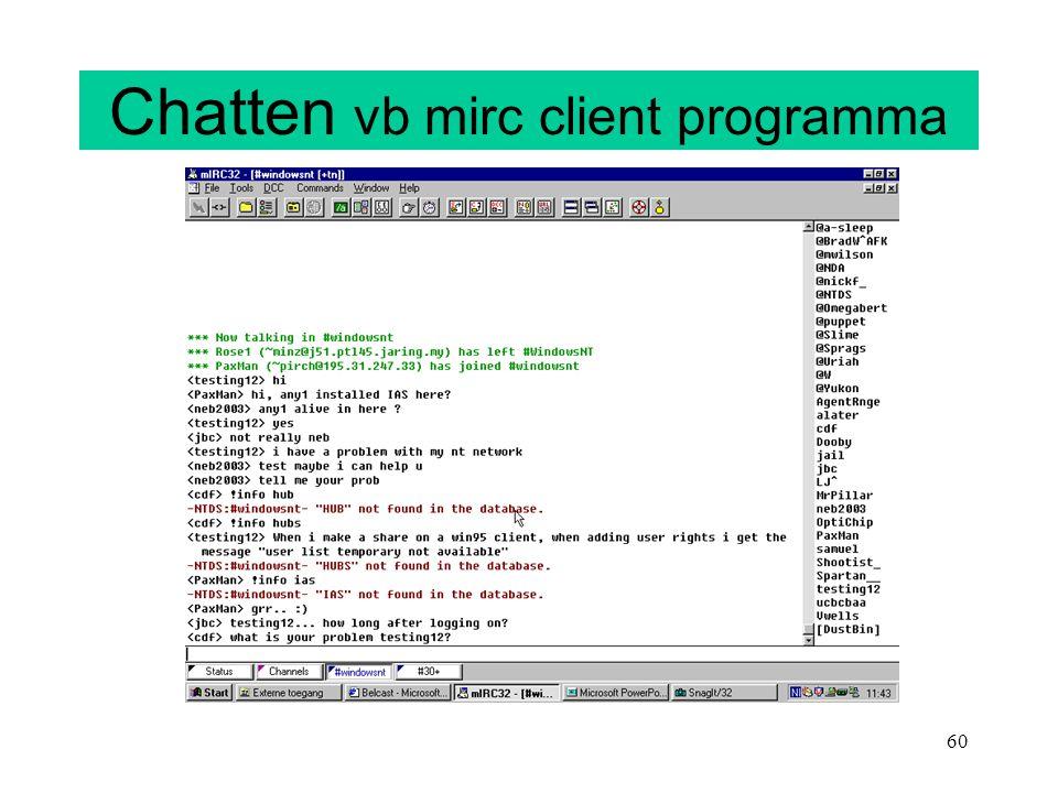 Chatten vb mirc client programma