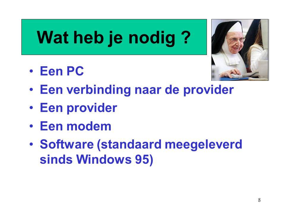 Wat heb je nodig Een PC Een verbinding naar de provider Een provider