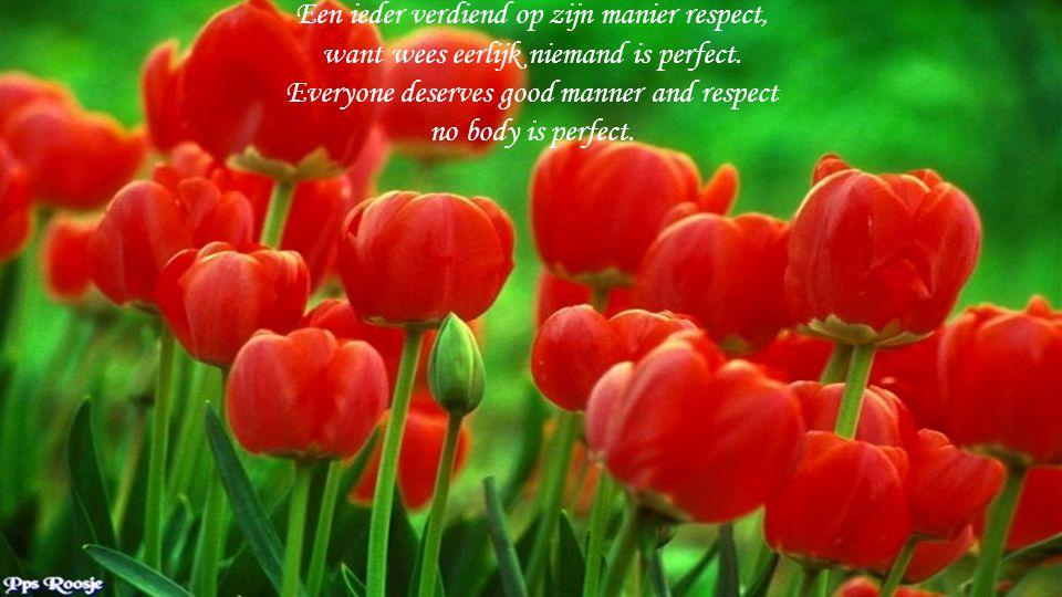 Een ieder verdiend op zijn manier respect, want wees eerlijk niemand is perfect.