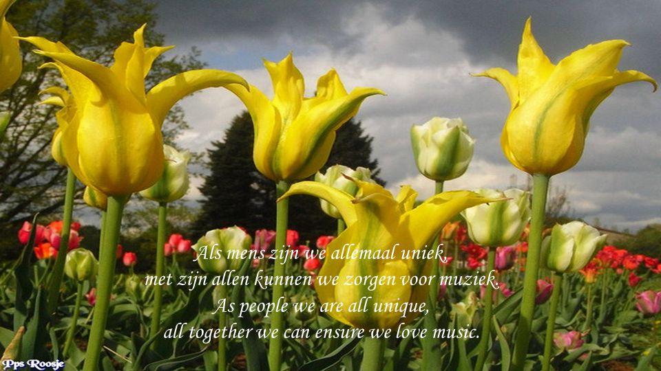 Als mens zijn we allemaal uniek, met zijn allen kunnen we zorgen voor muziek.
