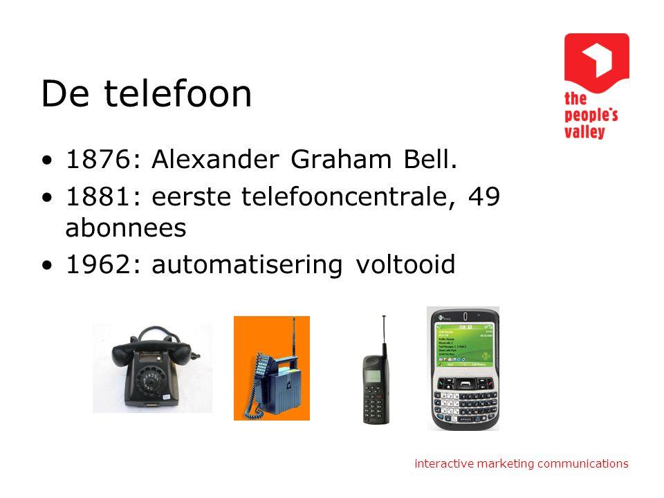De telefoon 1876: Alexander Graham Bell.