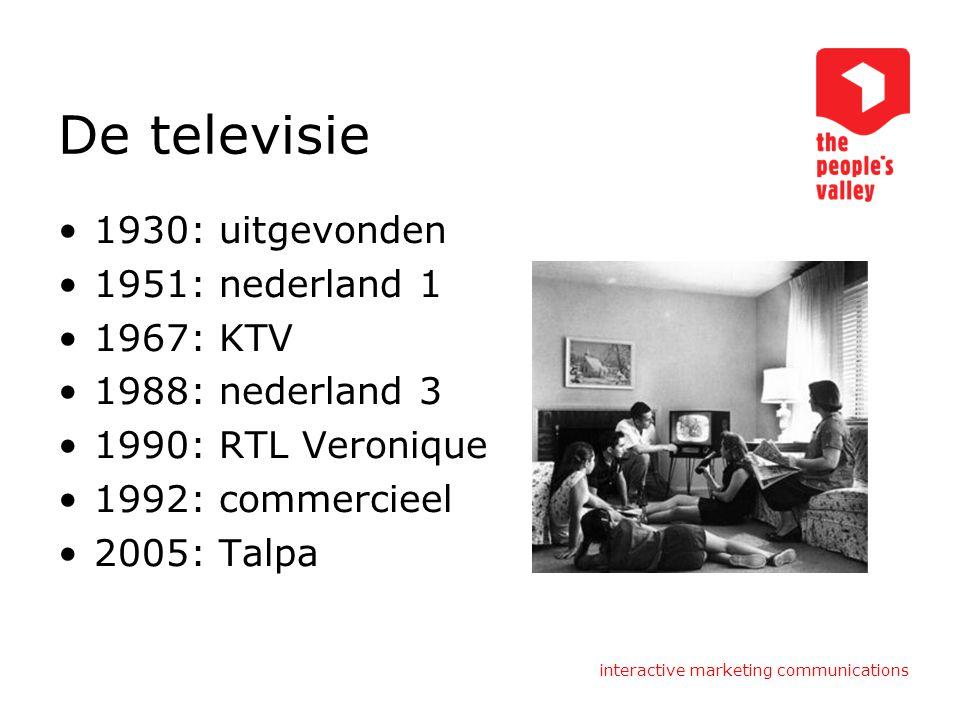 De televisie 1930: uitgevonden 1951: nederland 1 1967: KTV