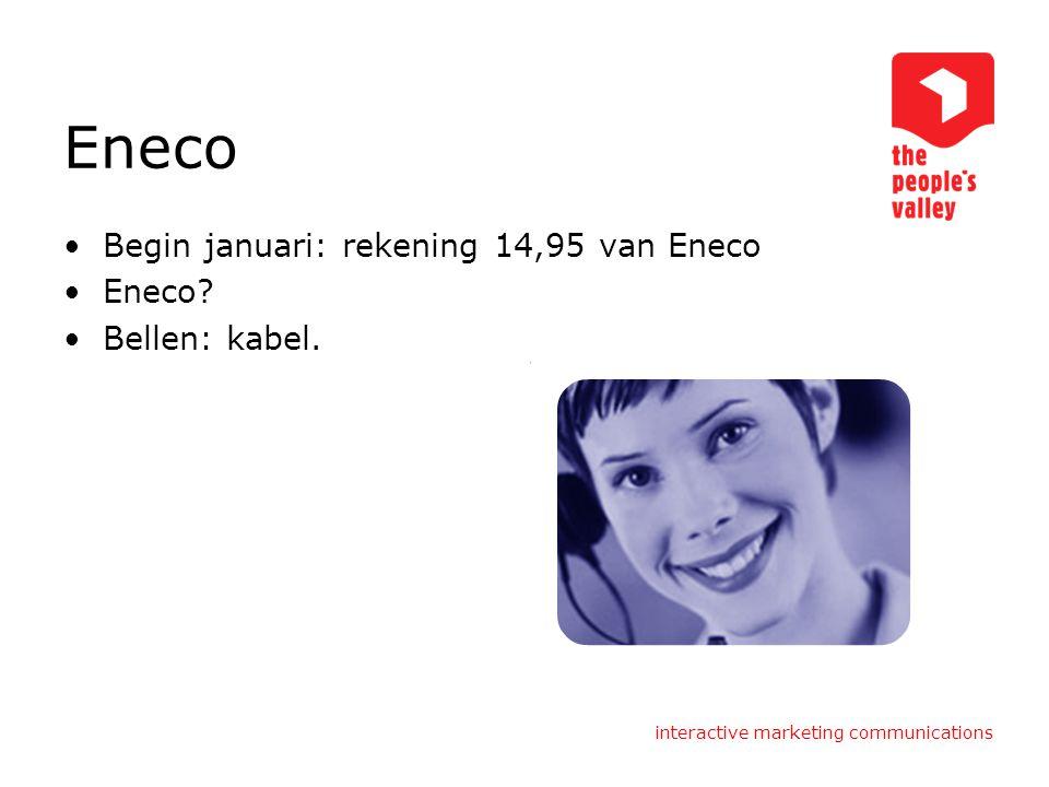 Eneco Begin januari: rekening 14,95 van Eneco Eneco Bellen: kabel.