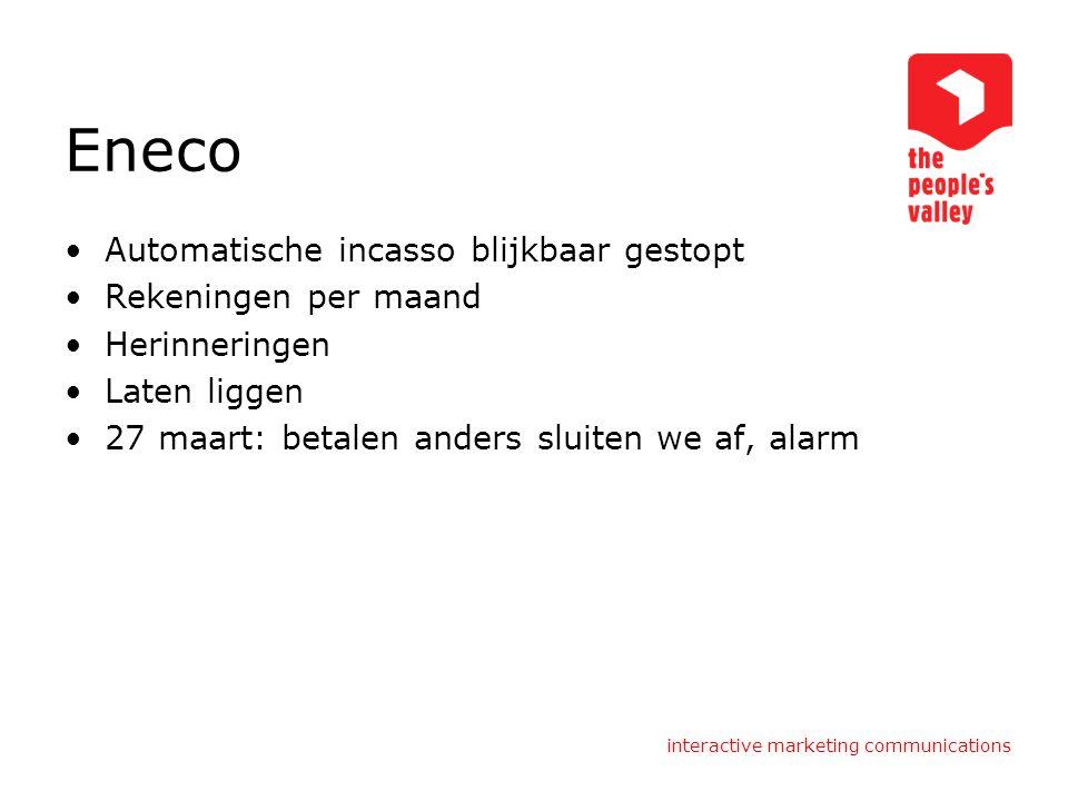 Eneco Automatische incasso blijkbaar gestopt Rekeningen per maand