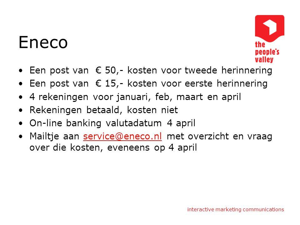 Eneco Een post van € 50,- kosten voor tweede herinnering