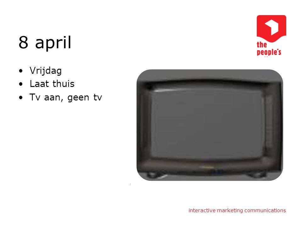 8 april Vrijdag Laat thuis Tv aan, geen tv