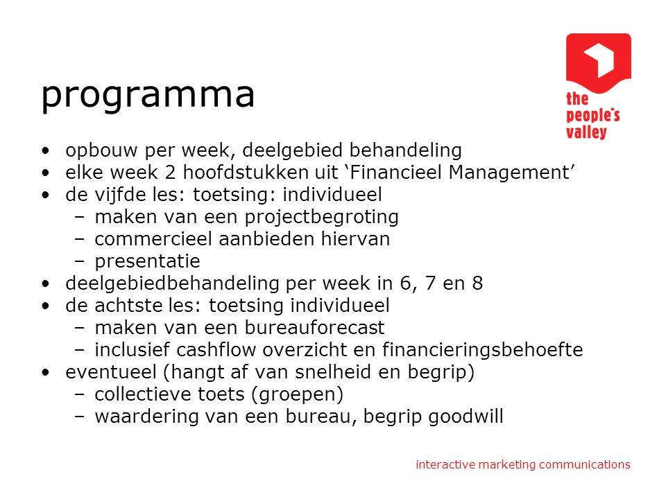 programma opbouw per week, deelgebied behandeling