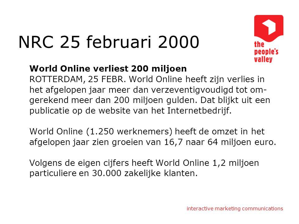 NRC 25 februari 2000 World Online verliest 200 miljoen