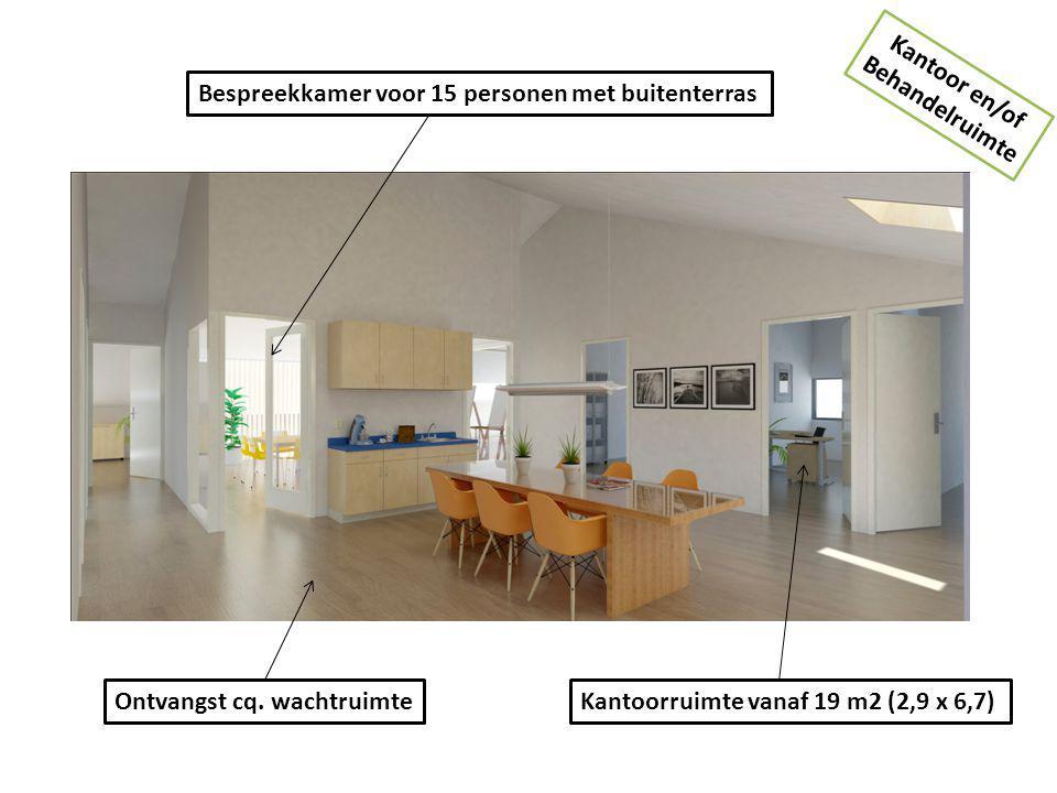 Kantoor en/of Behandelruimte. Bespreekkamer voor 15 personen met buitenterras. Ontvangst cq. wachtruimte.