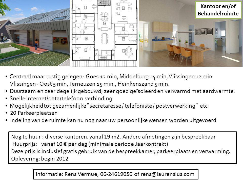 Kantoor en/of Behandelruimte. Centraal maar rustig gelegen: Goes 12 min, Middelburg 14 min, Vlissingen 12 min.