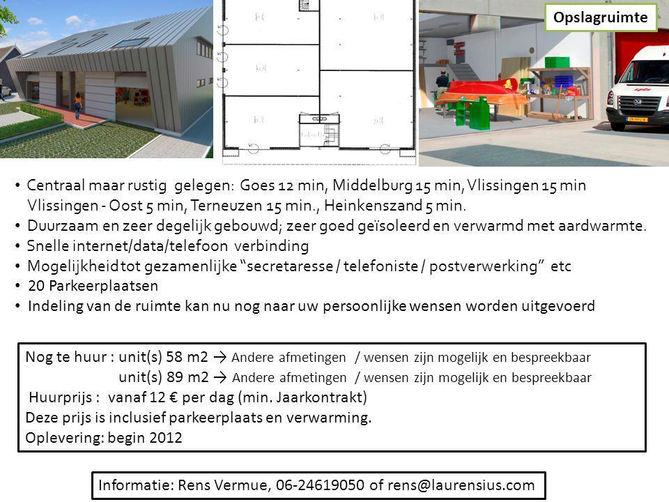 Opslagruimte Centraal maar rustig gelegen: Goes 12 min, Middelburg 15 min, Vlissingen 15 min.