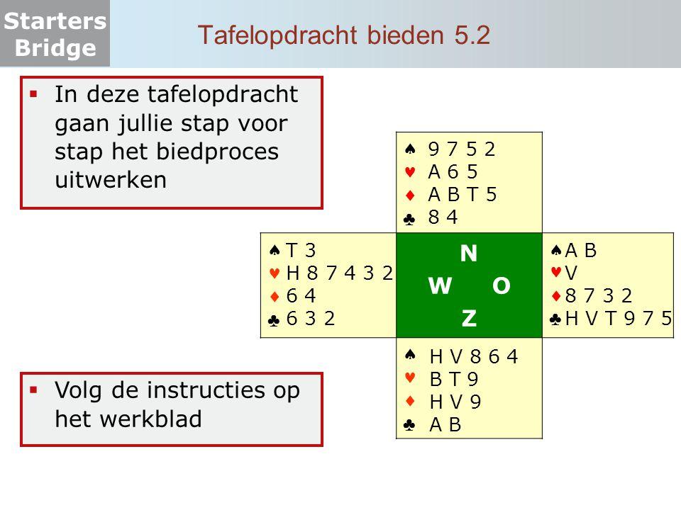 Tafelopdracht bieden 5.2 In deze tafelopdracht gaan jullie stap voor stap het biedproces uitwerken.