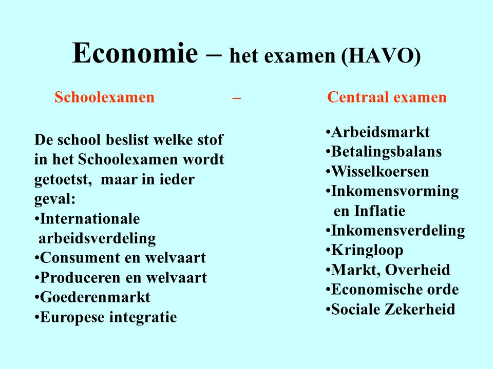 Economie – het examen (HAVO)