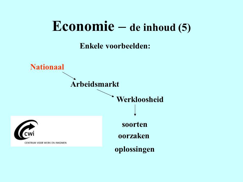 Economie – de inhoud (5) Enkele voorbeelden: Nationaal Arbeidsmarkt